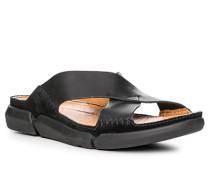 Herren Schuhe Pantolette, Leder, schwarz