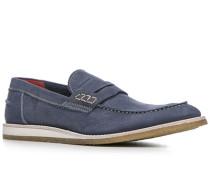 Herren Schuhe Loafer Kalbnubuk genarbt grau
