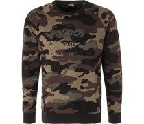 Pullover, Wolle, -graugrün camouflage