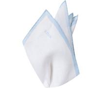 Herren Accessoires Einstecktuch, Leinen, hellblau-weiß
