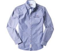Herren Hemd Slim Fit Pinpoint marine meliert blau