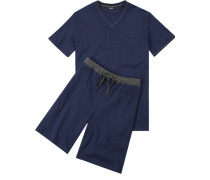Herren Schlafanzug Pyjama Baumwolle blau
