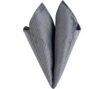 Herren Accessoires Einstecktuch, Seide, schwarz-weiß gemustert