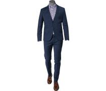 Herren Anzug Super Slim Schurwolle blau meliert