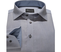 Hemd Slim Fit Oxford grau meliert
