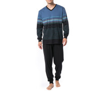 Herren Schlafanzug Pyjama, Baumwolle, blau gestreift