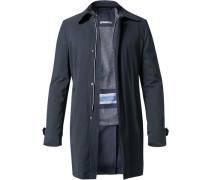 Herren Mantel Microfaser navy blau