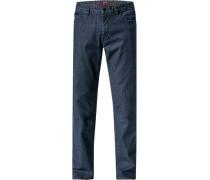 Herren Jeans, Baumwoll-Stretch, dunkelblau meliert