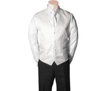 Herren Anzug Weste Microfaser weiß gemustert