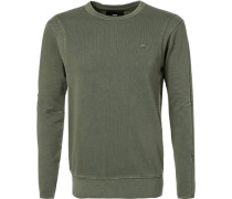 Sweatshirt Slim Fit Baumwolle oliv