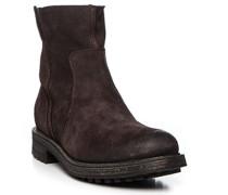 Herren Schuhe Stiefeletten, Veloursleder, dunkelbraun
