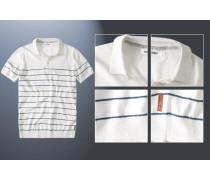 Herren Polo-Shirt Baumwoll-Strick ecru-marine gestreift weiß