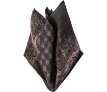 Herren Accessoires Einstecktuch, Wolle, dunkelbraun gemustert