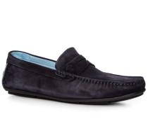 Herren Schuhe Mokassins, Veloursleder, navy blau
