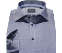 Herren Hemd, Body Fit, Baumwolle, marine meliert blau