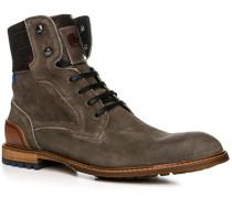 Herren Schuhe Stiefeletten Kalbveloursleder graubraun