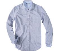 Herren Hemd Baumwolle indigo-weiß blau