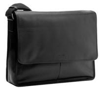 Herren Messenger Bag, Leder, schwarz