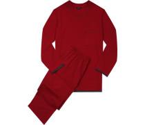 Herren Schlafanzug Baumwolljersey kirschrot grau abgesetzt grau,rot