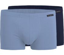 Herren Unterwäsche Trunks, Baumwolle, blau-grau
