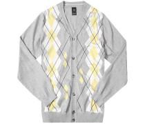 Herren Cardigan, Baumwolle, grau-gelb-weiß