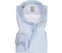 Hemd Custom Fit Baumwolle -blau gemustert