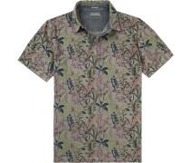Herren Polo-Shirt, Baumwoll-Pique, khaki gemustert grün