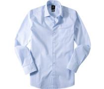 Herren Hemd Popeline weiß-blau kariert