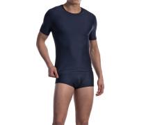 Herren T-Shirt Microfaser-Stretch nachtblau gestreift