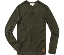Herren Pullover Leinen dunkelgrün
