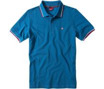Herren Polo-Shirt, Baumwollpiqé, türkisblau
