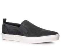 Herren Schuhe Slipper Leder navy blau