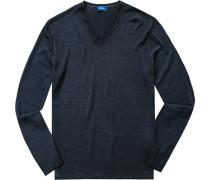 Herren Pullover, Schurwolle, marine blau