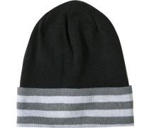 Herren Mütze, Microfaser, schwarz-grau gestreift