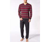 Herren Schlafanzug Pyjama Baumwolle dunkelbraun-rot gestreift braun,rot