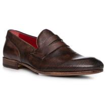 Schuhe Loafer Leder testa di moro
