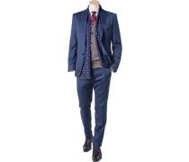 Herren Anzug Shaped Fit Schurwolle dunkelblau