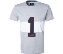 T-Shirt Regular Fit Baumwolle hell meliert