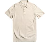 Herren Polo-Shirt Modern Fit Baumwolle off white meliert weiß