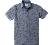 Herren Polo-Shirt Baumwoll-Piqué rauchblau gemustert