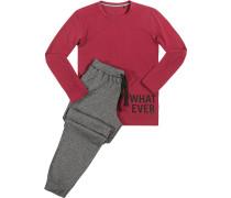 Herren Schlafanzug Pyjama, Baumwolle, bordeaux-grau
