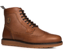 Herren Schuhe Boots Leder cognac