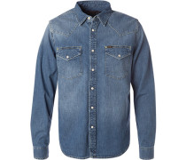 Herren Hemd Slim Fit Baumwolle denim blau