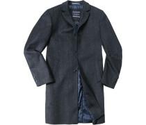 Herren Mantel Woll-Mix anthrazit-blau meliert