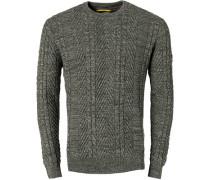 Herren Pullover, Baumwolle, grau-grün meliert