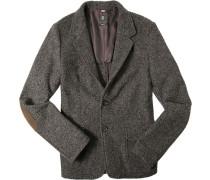 Herren Sakko Modern Fit Wolle halbgefüttert braun-schwarz meliert
