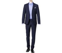 Herren Anzug, Schurwolle, marine meliert blau