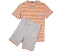 Herren Schlafanzug Pyjama Baumwolle grau-orange gestreift