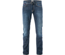 Jeans Straight Fit Baumwoll-Stretch dunkel