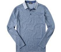 Herren Polo-Shirt Baumwoll-Trikot -weiß meliert